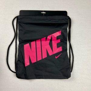 NWT NIKE Black Pink Drawstring Bag Backpack Gym